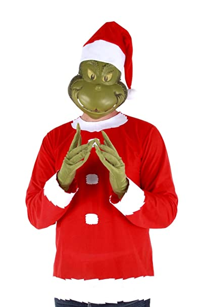 Dr. Seuss Grinch Santa Costume includes Shirt, Mask, Gloves and Hat, Small