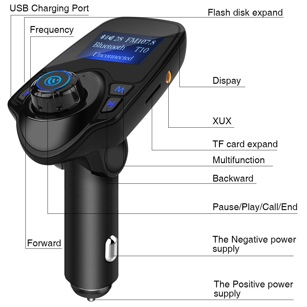 Bluetooth FM Transmitter Acouto T11 Wireless Handsfree Car Kit MP3 Player FM Transmitter USB Charger