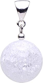 Pendente in vero cristallo di rocca e Argento 925 Bianco, struttura da donna.