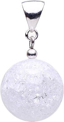 Anhänger aus echtem Bergkristall Kugel & 925 Silber weiß Crack Struktur Damen