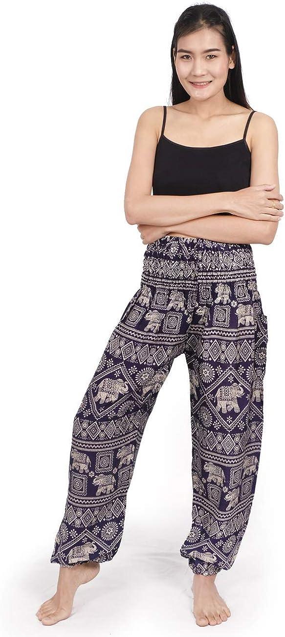 Palazzo Pants with Pockets Elephant Boho Floral Printed Yoga Pants Smocked Waist Lveberw Womens Harem Pants Hippie