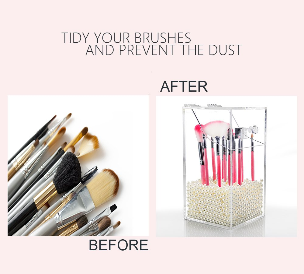 Clear Acrylic Makeup Brush Organizer,Covered Cosmetic Brush Holder,Dustproof Makeup Brush Holder with Lid and Free White Pearl to vanity your countertop -NEWCREA