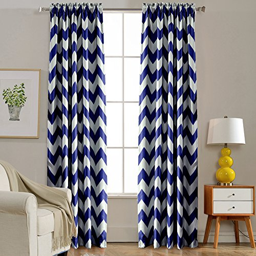 Melodieux Chevron Room Darkening Blackout Rod Pocket Curtains, 52 by 63 Inch, Navy (1 Panel) (Curtains Navy Chevron)