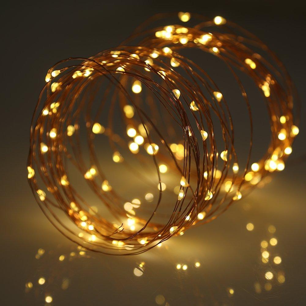 Luces decoración solares, AGM 33 ft 100 LED 10 metros luces de cadena en alambre de cobreimpermeable con 8 modos de iluminación para al aire libre, jardines, casas, patios, fiesta de Navidad y todas las decoraciones