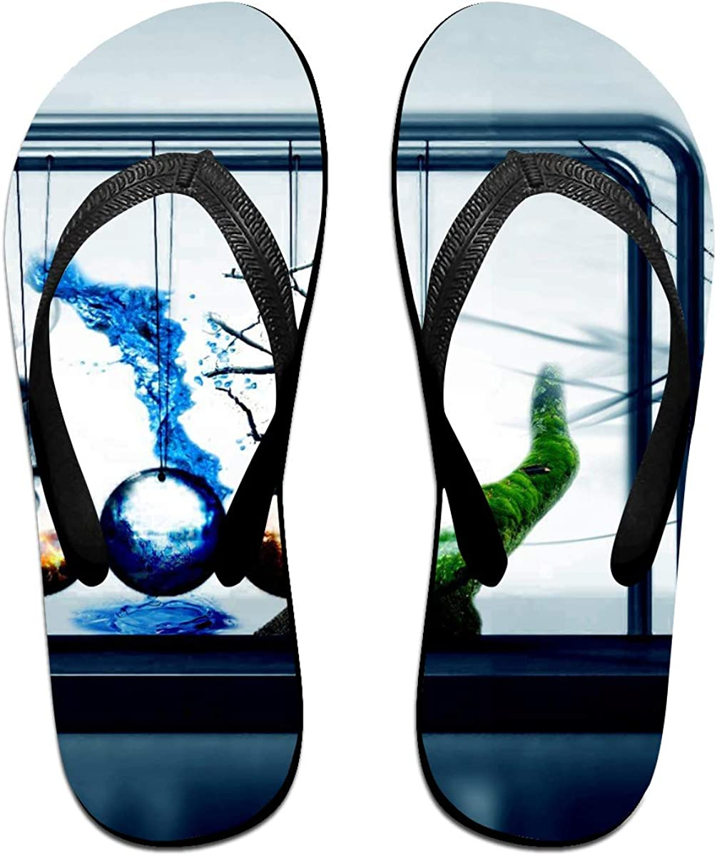 Couple Slipper Physics Pendulum Print Flip Flops Unisex Chic Sandals Rubber Non-Slip Beach Thong Slippers