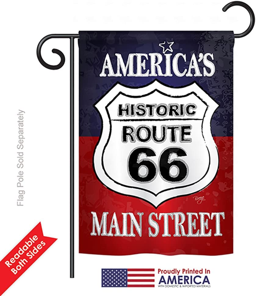 Amazon Com Breeze Decor G161059 Route 66 Americana Patriotic Impressions Decorative Vertical Garden Flag 13 X 18 5 Printed In Usa Multi Color Garden Outdoor