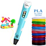 Canbor 3D Pen, 3D Printing Drawing Printer Pen for Arts Crafts DIY for Kids and Adults, Compatible with PLA ABS Filament,Safe and Bright LED Display - Blue