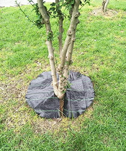 Agfabric Easy-Plant Weed Block Mulch,Tree Mat,Weed Barrier Mat,Woven Round Weed Barrier Fabric,Garden Mat,3.0oz,Dia-15 (10 pack,black) ()