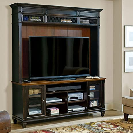 Amazoncom Hartford Two Tone Glass Door TV Stand with Hutch 75W