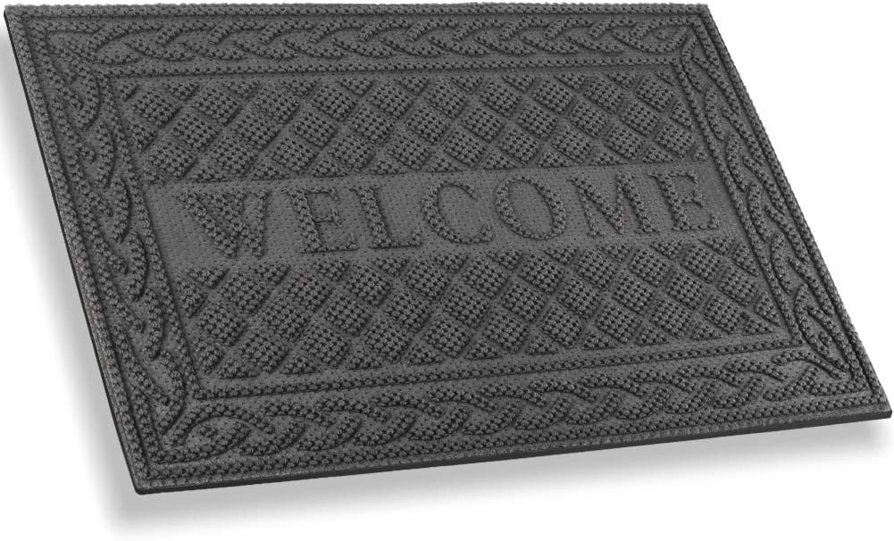 Mibao Entrance Door Mat, Winter Durable Large Heavy Duty Front Outdoor Rug, Non-Slip Welcome Doormat for Entry, Patio, 24 x 36 inch, Grey