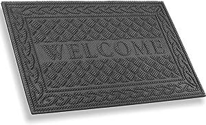 Mibao Entrance Door Mat, Winter Durable Large Heavy Duty Front Outdoor Rug, Non-Slip Welcome Doormat for Entry, Patio, 24 x 36 inch, Grey