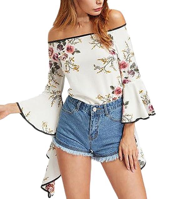 ... Hombros Descubiertos Cuello Barco Elegantes Vintage Estampadas Flores Hippie Casual Blusa Blusas Camisetas Tops Blancas: Amazon.es: Ropa y accesorios