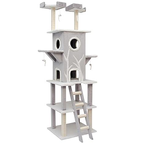 Eyepower Árbol Rascador para gatos Linus altura aprox 2,15m sisal peluche Gris