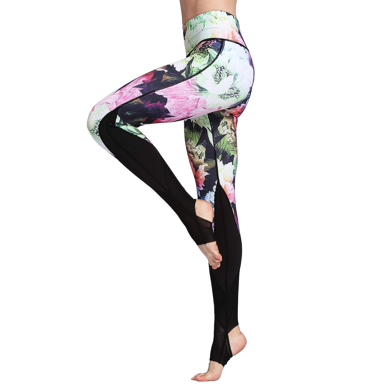 Hk45 Peony Witkey Printed Extra Long Women Yoga Leggings High Waist Tummy Control Over The Heel Yoga Pants