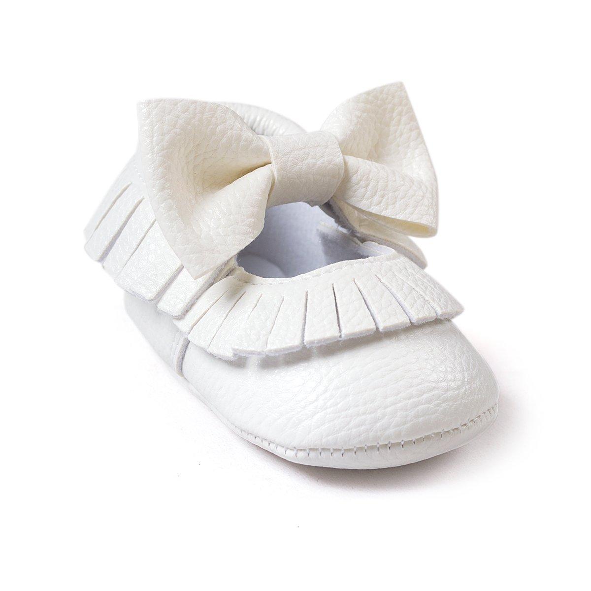 Isbasic Baby Girls Mary Jane Shoes Toddler Soft Sole Anti-Slip Princess Baptism Crib Dress Shoes
