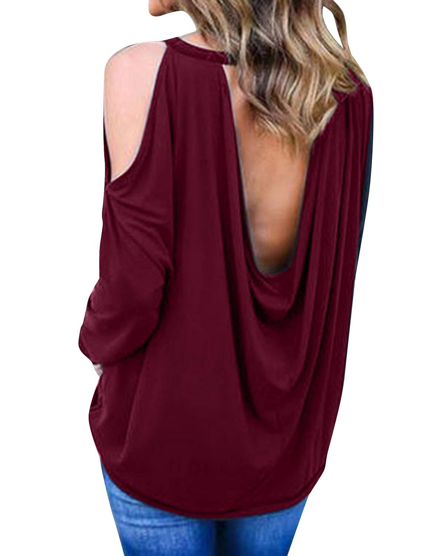 kenoce kvinnors jumper klänning långärmad v-ringad tunika tröja toppar lös lång jumper pullover kausal t-shirt klänning överdimensionerade blusar B-a Wine Red