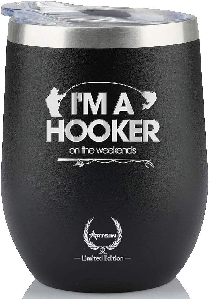 Fishing Gifts for Men-Unique Birthday Gifts for Him Funny Novelty Wine glass Best Personalized Present Ideas for Women, Dad, Boyfriend,Coworkers, Friends,Guys Vacuum Insulated Tumbler 12oz Black I am