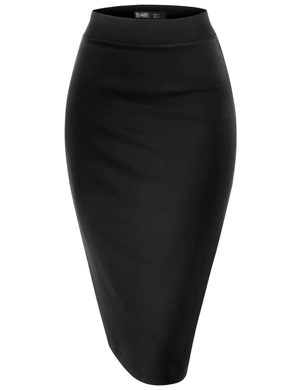 TWINTH Lighweight Fabric Office Wear Premium Hyper Stretch Scuba Oversize Skirt BLACK L