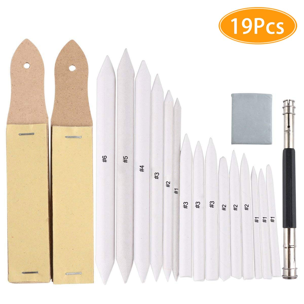 eBoot 12 Pieces Blending Stumps and Tortillions Set with 2 Pieces Sandpaper Pencil Sharpener for Student Sketch Drawing