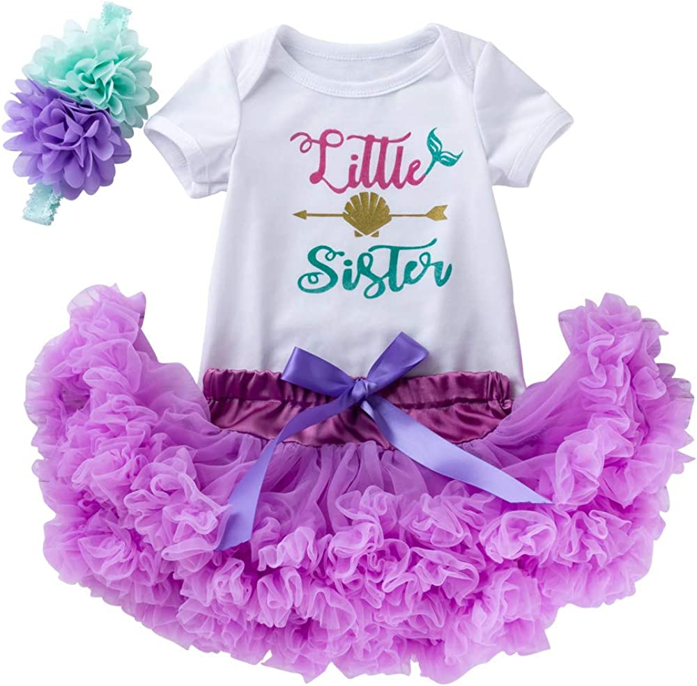 Infant Baby Girls Coming Home Outfit Little Sister Bodysuits Tutu Skirt 3pcs Clothes Set