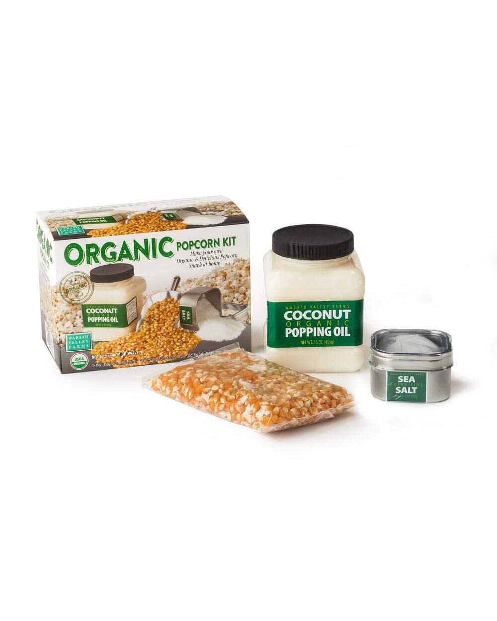 Organic Popping Set and Stainless Steel Bowl! Serving Bowl, Organic Coconut Oil, Organic Yellow Kernels And Fine Sea Salt! Non-Gmo, Gluten Free & 100% Whole Grain! Tasty Delicious Healthy Snack! by WVF (Image #2)