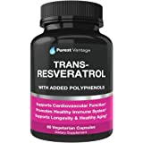 Resveratrol Supplement - Potent 1400mg Formula With Trans Resveratrol, Quercetin, Grape Seed, Green Tea, Acai and Red Wine Extract - 60 Veggie Capsules