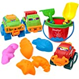 Loxfir 11pcs Beach Toys, Sand Toy Set with Bucket, Shovel, Rake, Cars and Sand Molds for Kids