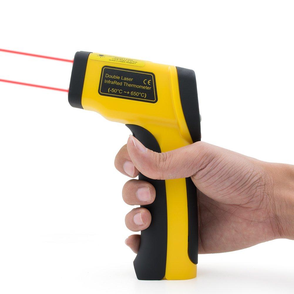 ERAY Dual Laser Infrarot Thermometer mit Hintergrundbeleuchtung LCD-Anzeige, -50°C to 650°C (-58°F to 1022°F), Aufbewahrungsbeutel und Batterie Eingeschlossen