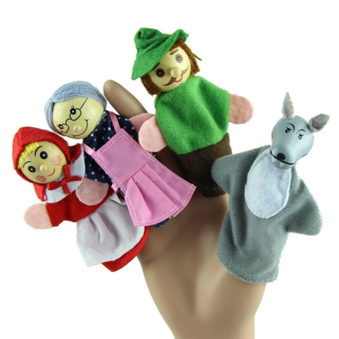 Baby Finger Puppets Koly 4PCS Little Red Riding Hood Animal Finger Puppet Dolls Educational Toys Christmas Gift Koly-SF62