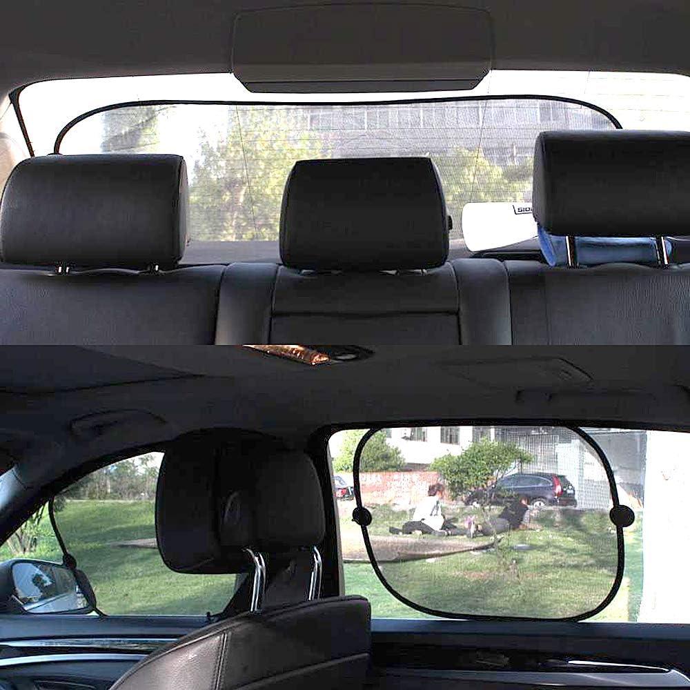 5Pcs Parasole laterale Parasole Finestra posteriore Paralume per auto Schermo parasole per auto con paralumi per vetri a ventosa Blocca labbagliamento e i raggi UV Chingde Parasole per auto