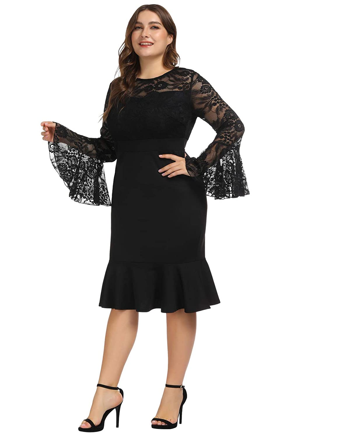 41779f8457 Hanna Nikole Women s Plus Size Lace Ruffle Bell Sleeves Business Cocktail  Party Mermaid Sheath Dress