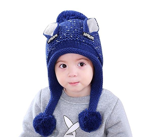 67cd476854d295 Smallrabbit Children Winter Hat Ear Flaps Soft Knitted Beanie Hat Ski Cap Warm  Hat with Pom