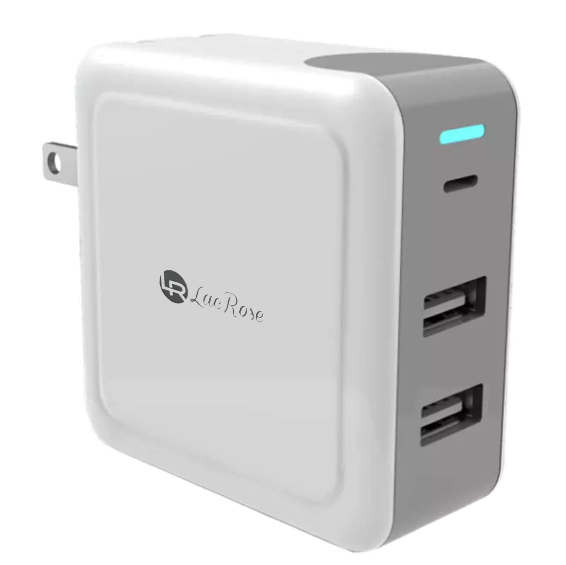 USB Type-C Wall Charger, LacRose PD Charger with 57W Power Delivery 3.0 & Dual Port USB Charger, Compatible MacBook/Pro/Air, iPad Pro, Dell XPS, iPhone, Galaxy S10/S10+/Note8 /Pixel 2/3/ XL, MateBook