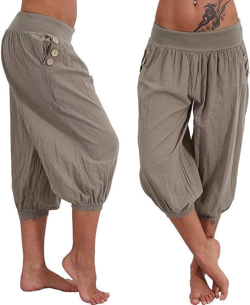 Kneris Pantaloni Donna Capri Harem Pants Sportivi Yoga Moda Pantalone Vita Elastica