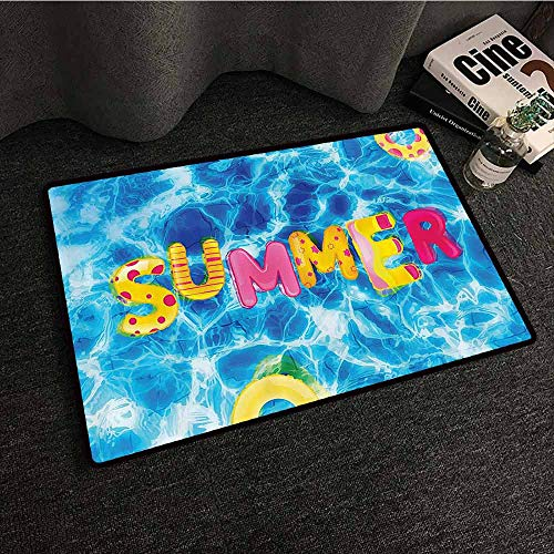 - Ocean Welcome Door mat Summer Ballon Like Lettering in a Pool with Differen Prints Summer Hot Vibes Image Suitable for Outdoor and Indoor use W35 xL59 Multicolor