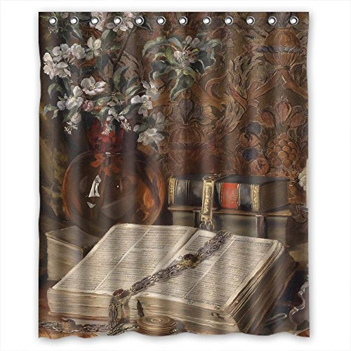 NASAZONE Christmas Shower Curtains Width X Height / 60 X 72 Inches / W H 150 By 180 Cm(fabric) Nice Choice For Kids Boys Kids Couples Mother Kids. Wipe Clean Classic Still Life Art Painting Polyes (Spring Step Allegra)