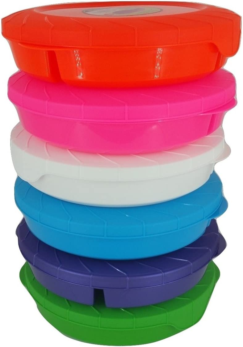 Set of 6 Microwave Food Storage Container, 3 Compartment Divided, Bright Colors BPA Free