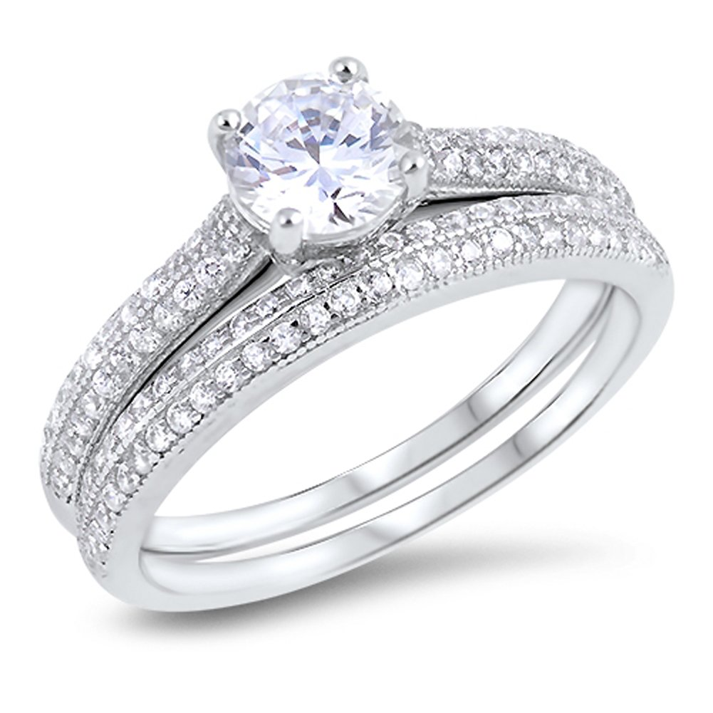 Round Clear CZ Micro Pave Wedding Ring Set .925 Sterling Silver Band Sizes 5-10 Sac Silver