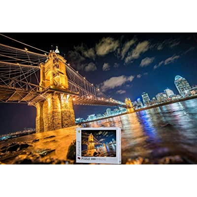 Cincinnati City Ohio River Wooden Jigsaw Puzzle -1000 Pieces Puzzles in a Box: Toys & Games