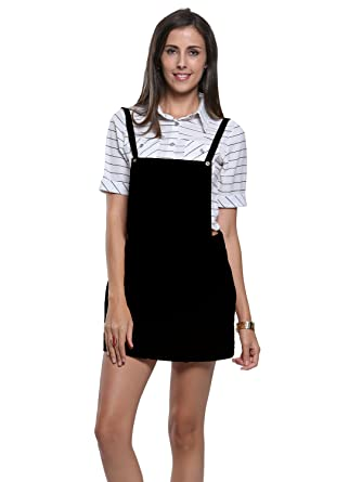 046141b54cd Clothink Women Yellow Corduroy Suspender Skirt Overall Mini Dress at ...