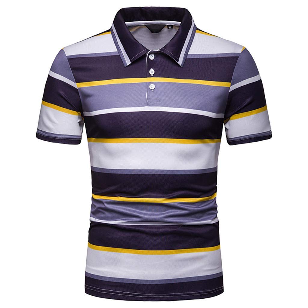 Hotkey Mens Polo Shirts Men'S Fashion Short Sleeve Stripe Painting Large Size Casual Top Blouse Yellow