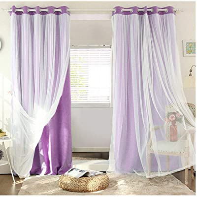 "SearchI Mix Match Voile Blackout Draperies Curtains, Elegant Double Layer Solid Grommet Darkening Window Treatment Panels Drapes with Crushed Sheer for Dining Room, 52"" W x 63"" L, Purple, 1 Panle: Kitchen & Dining"
