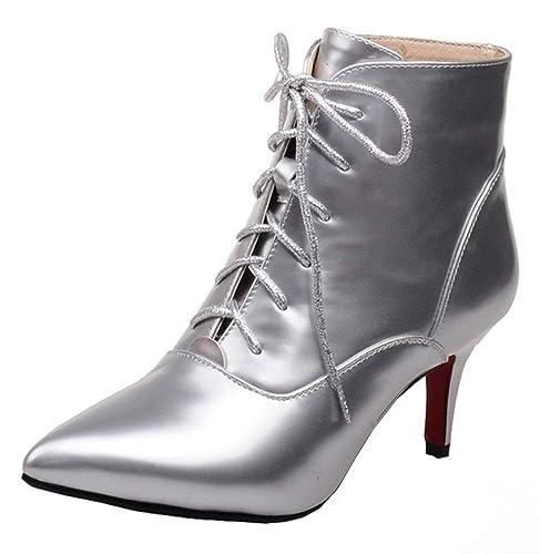 279990bb9b3e YE Chaussure Botte Chaude Ankle Boots Bottine Lacet Femme Bout Pointu Talon  Haut Aiguille Courte Hiver