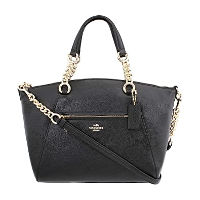 Image Unavailable. Image not available for. Color  COACH Women s Polished Pebbled  Leather Chain Prairie Li Black One Size ed11a7e26f