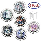 Set of 6 Mixed Pattern Foldable Womens Bag Purse Hook Handbag Hanger Holder (A1.Multicolored)