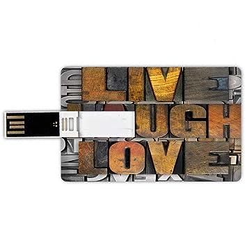8GB Forma de tarjeta de crédito de unidades flash USB Vive ríe ama ...