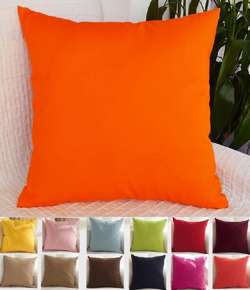 TangDepot Decorative Handmade Solid 100/% High Quality Cotton Canvas Throw Pillow Covers //Pillow Shams 12x12, Orange