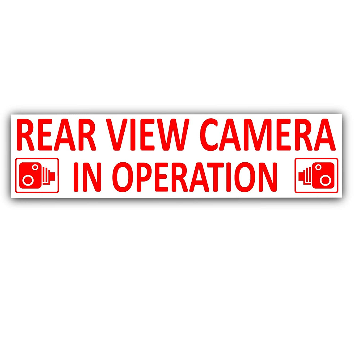 Platinum Place 1 x Rear View Camera In Operation Stickers-EXTERNAL CCTV  Signs-Van,Taxi,Car,Cab RED on WHITE,Lorry,Truck,Bus,Mini,Minicab Safety and