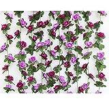 LAOZHOU 2PCS(16.4FT) Fake Rose Vine Garland Artificial Flowers Plants for Hotel Wedding Home Party Garden Craft Art Decor (Purple)