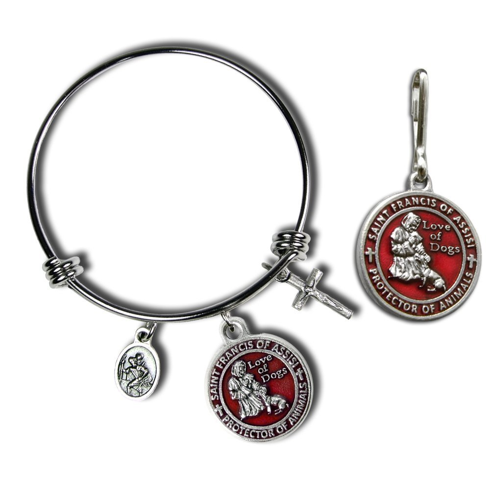 The Christian Mint, LLC St Francis of Assisi Pet Medal with Matching Bangle Bracelet (Red)